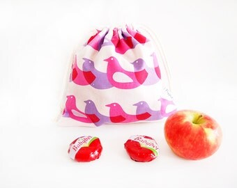 Small Drawstring Bag - Pink Birds