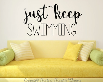 Just keep swimming Finding Nemo Dory quote vinyl wall decal wall quote wall words