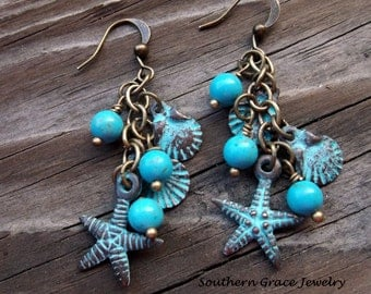 Starfish and Seashells Blue Verdigris and turquoise earrings