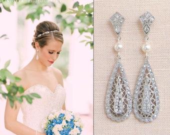 Bridal earrings Vintage Style Wedding Earrings, Swarovski, Wedding Jewelry, Bridal jewelry, Shelby Vintage Drop Earrings