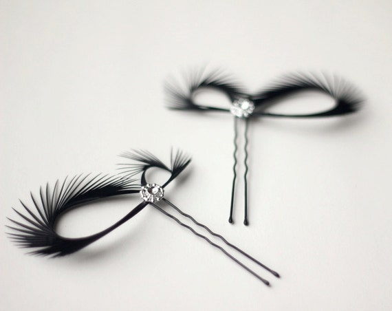 Black Hair Accessories - Black Hair Pins - Black Fascinators - Wedding Hair Accessories - Bridal Headpiece - Bridesmaids Gift Gift for Her