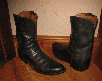 Lucchese   Black Leather  Roper Style  Cowboy Boots   Made In USA   Size....see measurements