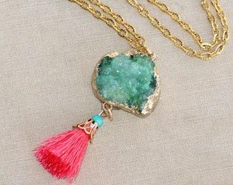 NEW Mint Green Druzy Coral Tassel Necklace,Genuine Druzy Quartz Gemstone,Mint Seafoam Green Tassel,Long Boho Necklace,Gold Druzy Drusy,OOAK