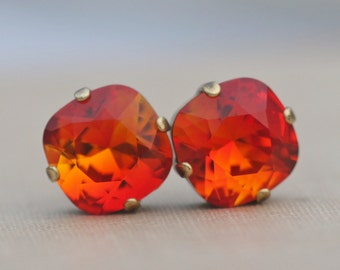 RARE Swarovski Fire Opal Rhinestone Stud Earrings,Hot Orange Yellow Cushion Post Stud,12mm Stud Earring,Rhinestone Stud,Unique Color,Bright