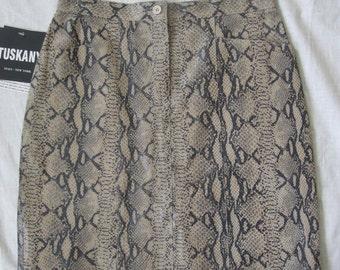 TUSKANG animal print LEATHER VINTAGE skirt size m