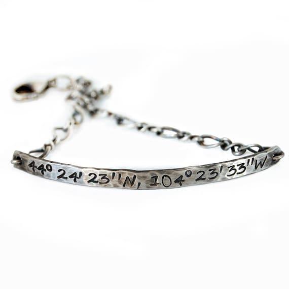 sterling silver gps coordinate bracelet delicate silver