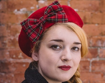 Red Hat, Red Beret Hat with Red-Black Tartan Bow, Red Wool Beret Hat, Red Felt Beret Hat, Red French Beret Hat, Red Winter Hat