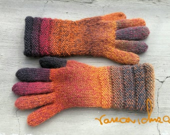 Women Wool Handknitted Gloves. Multicolor Red Orange Grey Gloves. Handknitted Gusset Tumb Mittens. Knitted Winter Arm Warmers. Gift for Her.