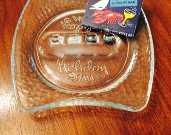 Vintage Clear Glass Holiday Inn Ashtray 1960s Collectible Midcentury Hotel Motel Americana