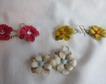 Flower Earrings on Gold Ear Wires