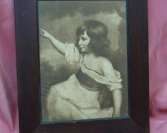 Antique Picture Victorian Girl, Sepia Tone, 9 x 11 Wooden Frame