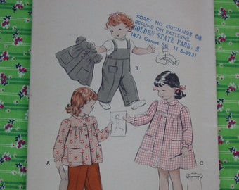 Vintage Pattern c.1950's Butterick No.6282 Toddler Smock, Overall Sz.2