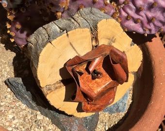 Cholla Wood Frame -  Sculpted Rusty Flower Center - Desert Salvage - Original Art / Cathy DeLeRee