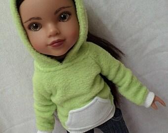 Green fleece hoodie for 13-14 inch dolls