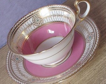 Antique 1920's Art Deco teacup and saucer, Aynsley pink tea cup, Antique teacup, English tea cup, Pink and gold teacup, Antique china teacup
