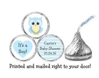 Printed 216 Baby Shower Stickers for Chocolate Kiss® candy - Blue Owl & Chevron Personalized Labels for Favors