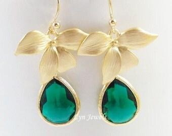 Emerald Flower Earrings - Gold Orchid Emerald Glass Teardrops Earrings - Green Garden Wedding Jewelry Bridesmaids Gift