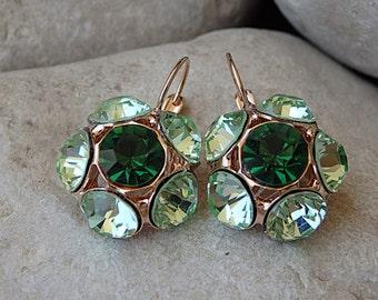 Mint Green Earrings, Gold Lever Back Earrings, Flower Emerald Crystal Bridesmaid Earrings, Swarovski Drop Earrings. Bridal Rose Gold Jewelry