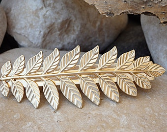 Leaves French Barrette, Gold Plated French Barrette, Greek Leaf Hair Accessories, Bridal Hair Jewelry, Bridal Barrette, Leaf Hair Barrette