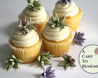 """12 small pointy edible succulents for cakes, 1"""" wide. Cactus wedding DIY rustic flowers for cake and cupcake decorating"""