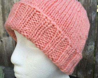 Hand Knit Hat, Womens Knitted Hat, Handspun Wool,  Womens Wool Hat, pink