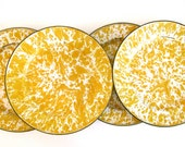Vintage yellow splatter ware , spatterware enamel plates, set of four, shabby chic dinnerware plates