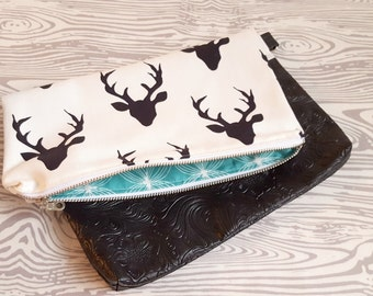 Stag Head Clutch, Deer Head Clutch, Country Girl Gifts, Country Chic, Diaper Clutch, Evening Clutch, Evening Bag, Black and White, Women Fas