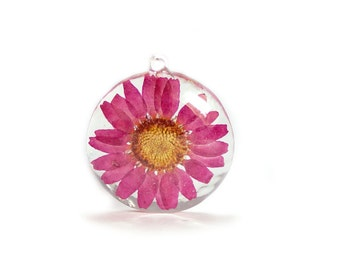 Pink Flower Pendant - Real Flower Jewelry - Pink Jewelry - Daisy Flower Pendant - Necklace Charm - Flower Jewelry - Pink Pendant