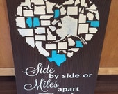 "Hand Painted Wood Sign - 12"" x 18"" - Heart of States - Side by Side or Miles Apart Family is always close at Heart - shabby chic rustic wood"