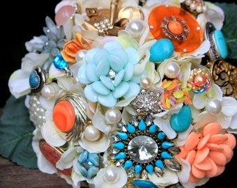 Vintage wedding brooch bouquet peach coral pink green flowers, Deposit only