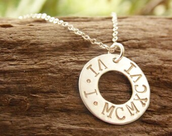 Sterling Silver Anniversary Necklace, Roman Numeral Date Necklace, Anniversary Gift, Bridal Shower Gift, Hand Stamped