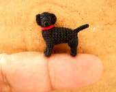 Miniature Black Labrador Retriever - Tiny Crochet Dog Stuffed Animals - Made To Order