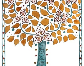 """Celtic Blessing Tree A4 """"May the road"""" print"""