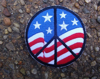 Patriotic PEACE sign embroidered patch Peace symbol with American USA flag