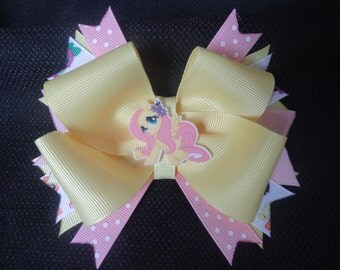 My Little Pony inspired bow, fluttershy 5 inch hairbow