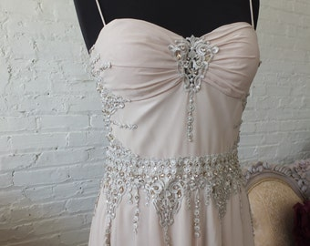 Wedding dress lace sequins see thru back taupe