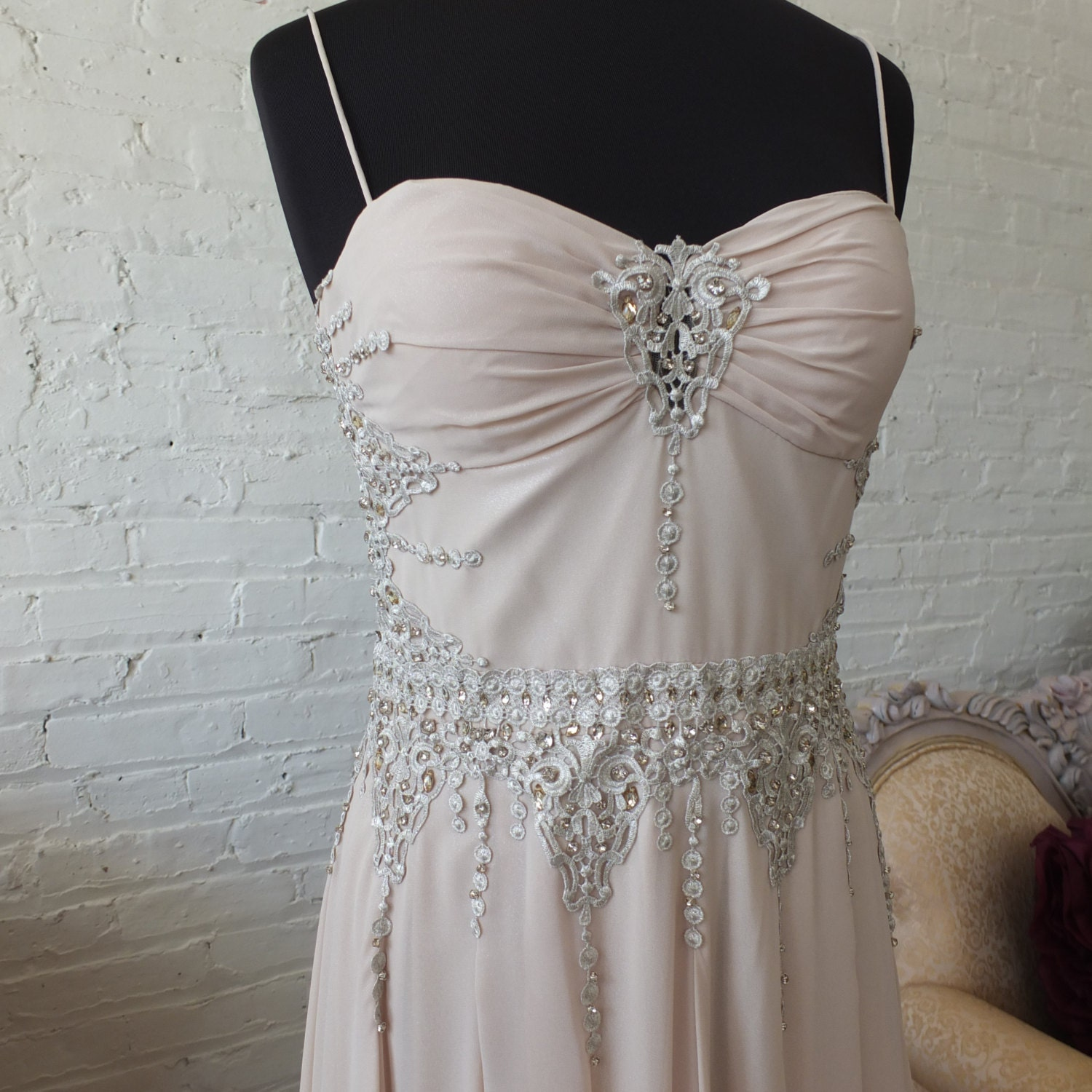 Wedding dress lace sequins see thru back taupe for Taupe lace wedding dress