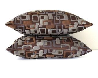 Brown Pillow Cover Blue Grey Pillow Decorative Pillow Modern Mid Century Geometric Throw Pillow Cover Floor Cushion 20x20 18x18 16x16