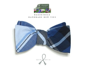 Bow Tie - blue plaid, self tie freestyle / I make mens bow ties, classic bowtie - for him