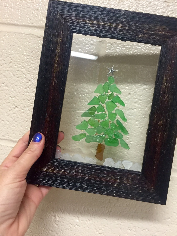 Beach glass framed christmas tree design decor hanging rustic