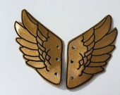 Gold Glitter Faux Leather with Black Stitching Percy Jackson Inspired Shoe Wings
