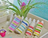 Beach Towel Miniature  ~ Terrarium Accessory ~ Dollhouse Miniature ~ Color Choices at Checkout ~ Does not unfold ~ Rolled up towel ~ Fabric