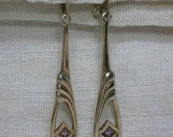 Soviet 875 Silver Earrings. Alexandrite & Gold Plated. Long Dangles. Kharkiv Ukraine, 1990