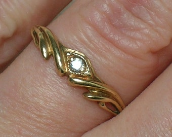 Vintage Engagement Ring: Soviet 583 Rose Gold Fianit Solitaire. Size 7