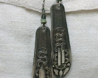 Early Laurel Burch Earrings, Long Chinese Silver Dangles. Butterfly or Moth Motif