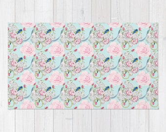 Rug, Shabby Chic Roses and Bluebirds on Paris Blue small pattern