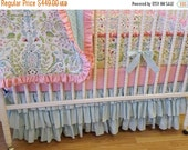 SALE--VALENTINES SALE---- Made to Order- Girl Crib Bedding Set- 4 piece Baby Bedding Set- Lovebird Damask