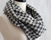 Infinity Scarf Gray and White Houndstooth