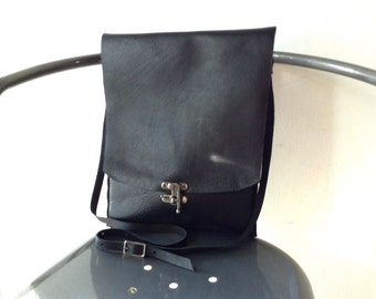Leather Crossbody Bag - black