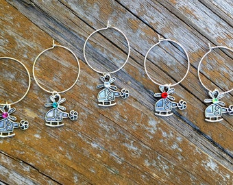 Helicopter chopper wine glass charms for the wine lover and pilot in your life....